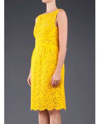 Michael Kors Yellow Sleeveless Cotton Floral Lace Dress