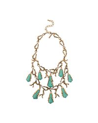 Oscar de la Renta Green Turquoise Coral Shell Necklace