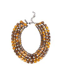 Oscar de la Renta Multicolor Multi Strand Rhinestone Necklace