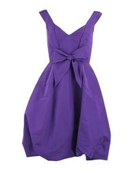 Oscar de la Renta | Purple Vneck Off The Shoulder Dress | Lyst