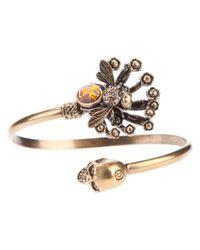 Alexander McQueen Metallic Twin Skull Bee Bracelet