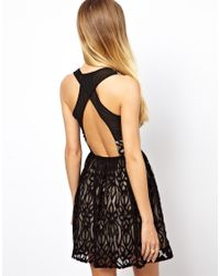 ASOS Black Lace Halter Skater Dress