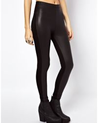 PUMA Black Asos Leggings in High Waist with Leather Look Front Panel