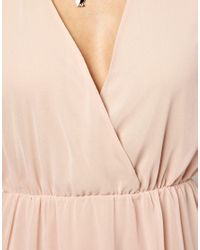 ASOS Natural Open Back Wrap Dress