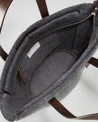 Brunello Cucinelli Gray Feltro Flannel Bucket Tote Bag Charcoal