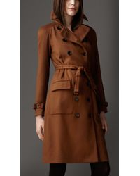 Burberry Brown Long Cashmere Trench Coat