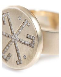 DINA KAMAL DK01 - Metallic Diamond and Beige Gold Flat Coin Pinky Ring - Lyst
