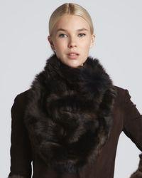Donna Karan - Brown Shearling Cowl Bib Collar Chestnut - Lyst