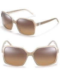 Fendi Gray Large Square Sunglasses with Logo Crystal