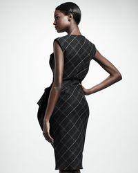 Lanvin Gray Trompe Loeil Check Peplum Dress