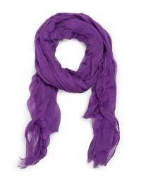 Mango - Purple Basic Cotton Scarf - Lyst