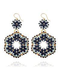 Miguel Ases | Blue Goldstone Chandelier Earrings | Lyst