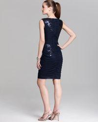 Tadashi Shoji Blue Sequin Dress Sleeveless Ruched
