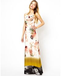 Ted Baker Maxi Dress In Opulent Bloom Print Silk In Shell