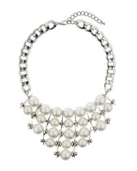 TOPSHOP White Pearl Statement Necklace