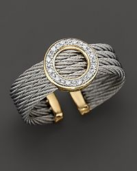 Charriol Metallic Round Ring with Diamonds in 18 Kt Yellow Gold and Stainless Steel