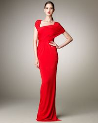 Donna Karan | Red Wrapped Jersey Gown | Lyst