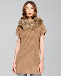 Michael Kors Natural Fur-collar Sweater