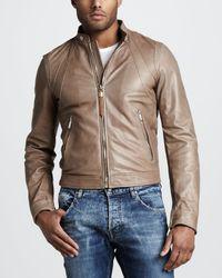 Just Cavalli Brown Leather Motorcycle Jacket