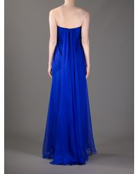 Alexander McQueen Blue Draped Bustier Gown