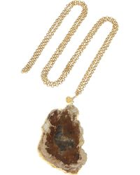 Dara Ettinger - Brown Mira Goldplated Petrified Wood Necklace - Lyst