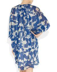 Diane von Furstenberg Blue New Fleurette Printed Silk-chiffon Dress