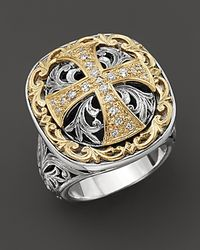 Konstantino | Metallic Sterling Silver And 18 K Gold Diamond Maltese Cross Ring | Lyst