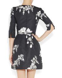 Oscar de la Renta   Black Printed Silk-Faille Dress   Lyst