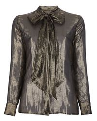 Saint Laurent | Metallic Bow Blouse | Lyst