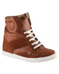 ALDO Brown Sen Hi Top Wedge Trainer Shoes
