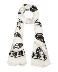 Alexander McQueen | Multicolor Ivory and Black Silk Skull Printed Scarf | Lyst