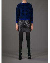 Alexander McQueen Blue Stain Glass Printed Sweater