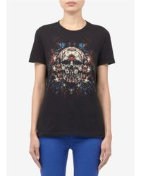 Alexander McQueen Black Stain Glass Skull Printed Cotton T-shirt