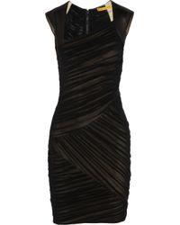 Alice + Olivia Black Mitzie Leather and Stretch silk Chiffon Dress