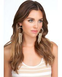 Bebe - Metallic Pave Fringe Hoop Earrings - Lyst
