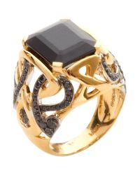 Biba | Gold And Black Diamond Spinel Stone Ring | Lyst