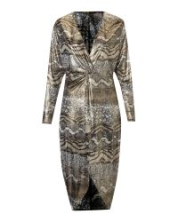 Biba | Metallic Animal Knot Front Jersey Dress | Lyst