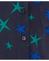 Equipment Blue Navy Star Print Silk Shirt