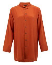 Eskandar Burnt Orange Aline Silk Shirt