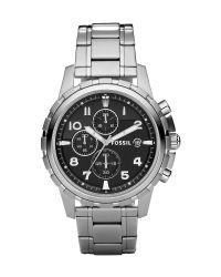 Fossil Gray Chronograph Dean Stainless Steel Bracelet Watch 45mm for men
