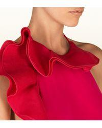 Gucci Fuchsia Pink Viscose Jersey with Silk Flounce Halter Dress