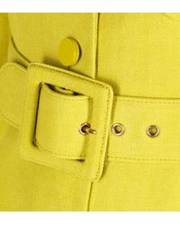 Gucci Yellow Lime Canvas Belted Coat with Puff Sleeves