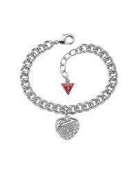 Guess | Metallic Crystal Crush Silver Heart Bracelet | Lyst