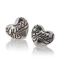 Guess | Metallic Puffy Heart Earring | Lyst