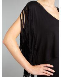 House of Dereon - Black Sleeveless Fringe Detail Dress - Lyst