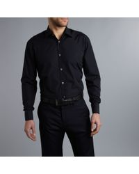 Howick Black Luxury Poplin Double Cuff Formal Shirt for men
