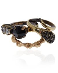 Iosselliani - Metallic Black Swarovski Crystal Stacking Rings - Lyst