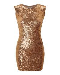 John Zack Metallic All Over Sequin Cut Out Back Dress