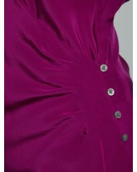 Lauren by Ralph Lauren Purple Redley Silk Long Sleeved Wrap Blouse