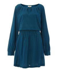 Linea Weekend Blue Feather Print Dress